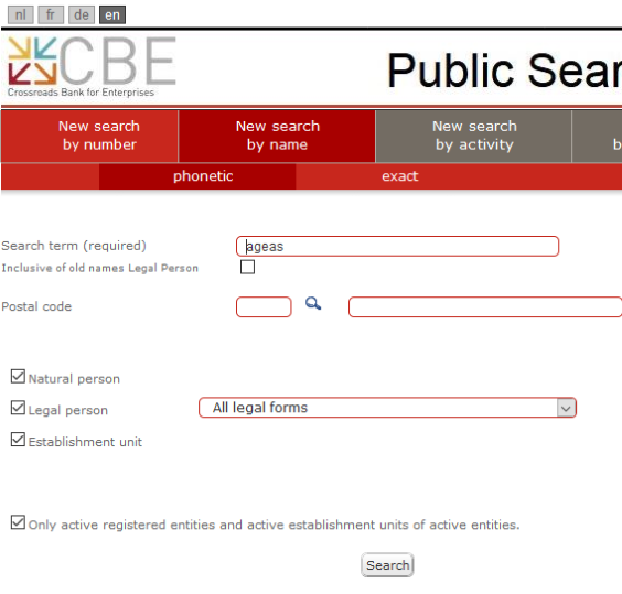 Belgian corporate registry database search function