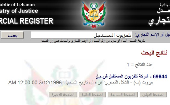 Lebanese corporate registry search function