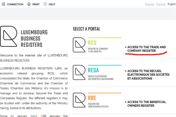 Luxembourg Business Registers homepage
